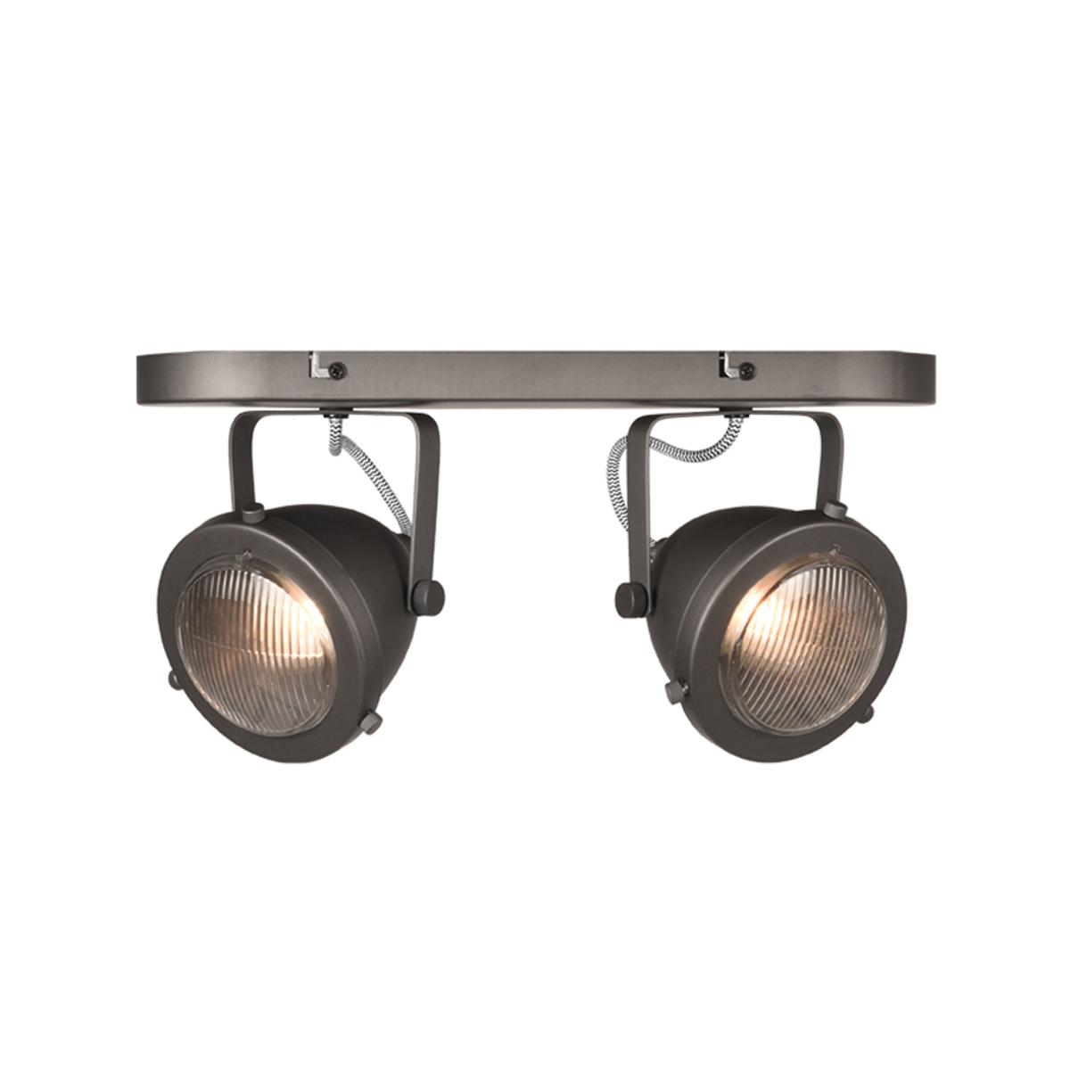 LABEL51 Spot Moto led - Burned Steel - Metaal - 2 Lichts