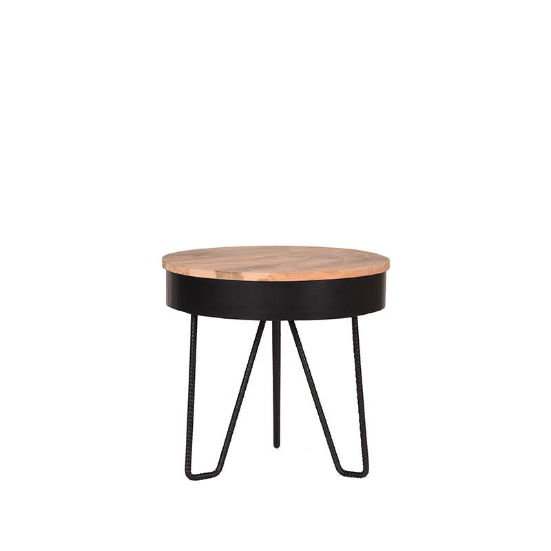 LABEL51 Bijzettafel Saran - Zwart - Metaal - Rond - 44 cm