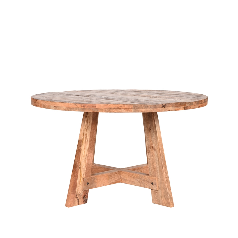 LABEL51 Eetkamertafel Friends - Rough - Mangohout - Rond - 130 cm