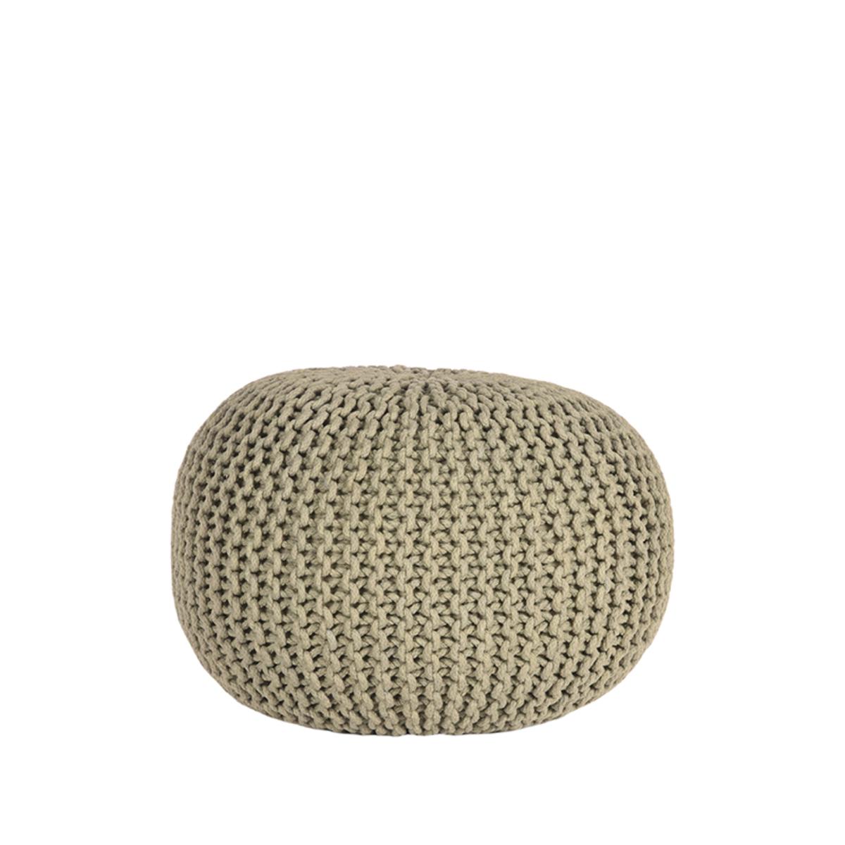 LABEL51 Poef Knitted - Olijfgroen - Katoen - M