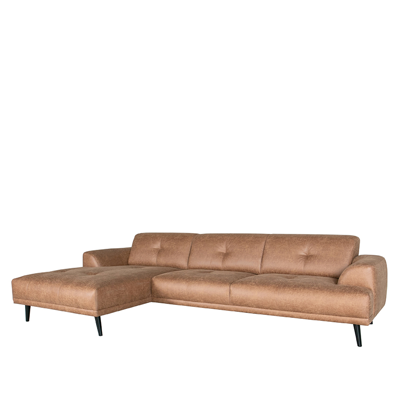 LABEL51 Bank Salerno - Cognac - Microfiber - Chaise Longue + 2,5-Zits