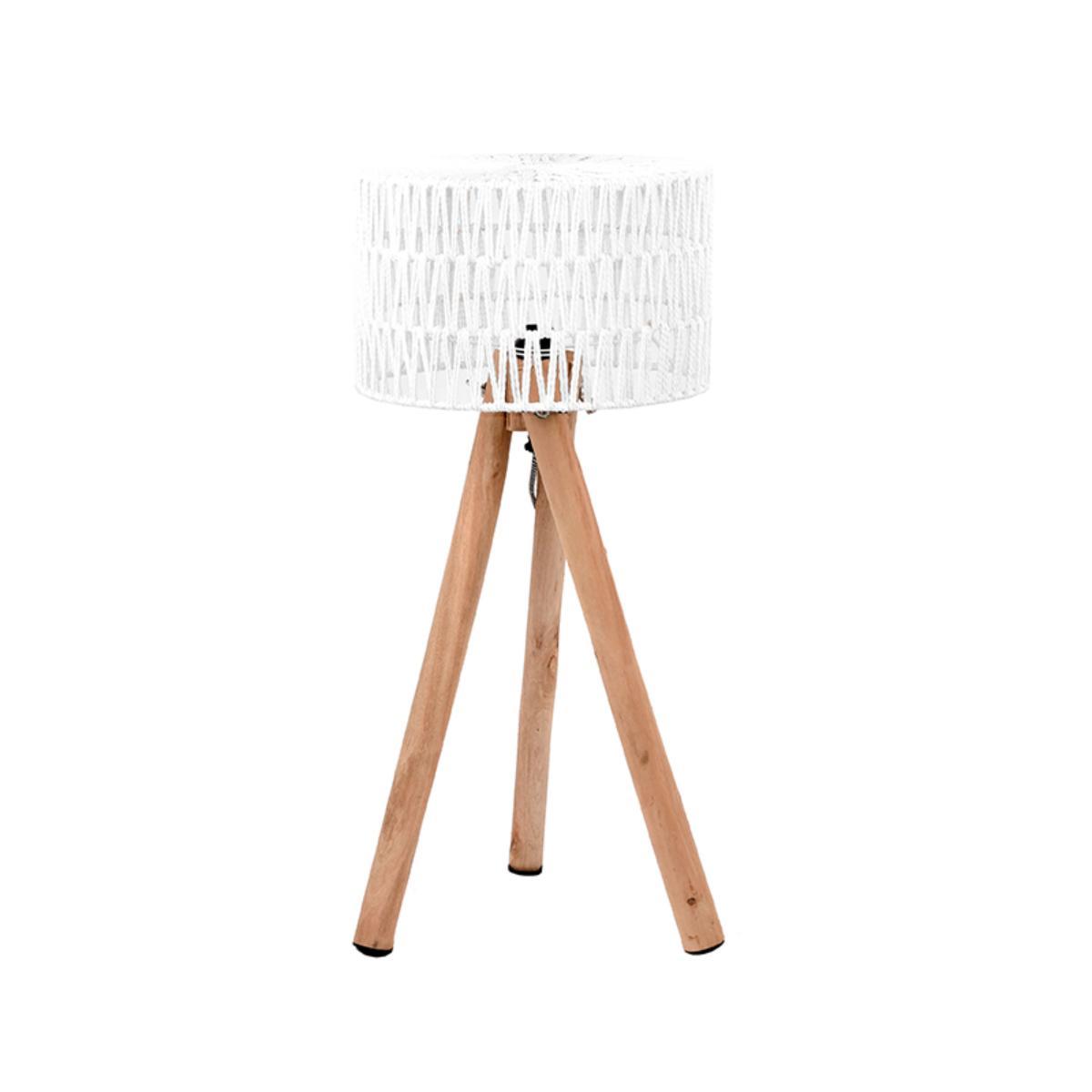 LABEL51 Tafellamp Stripe - Wit - Mangohout