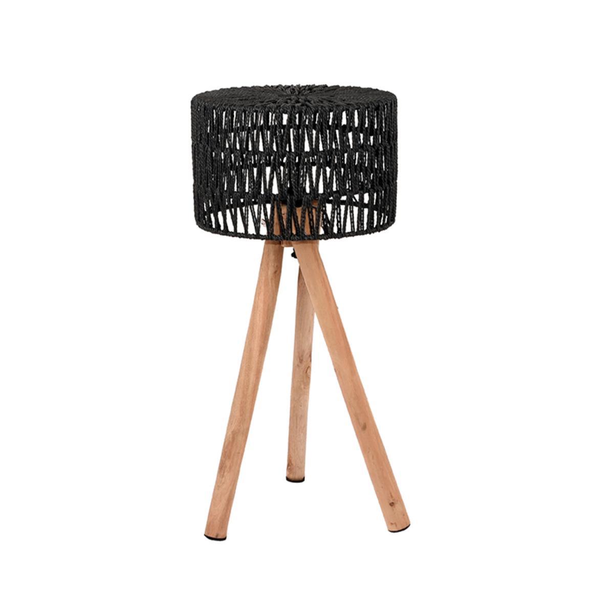 LABEL51 Tafellamp Stripe - Zwart - Mangohout