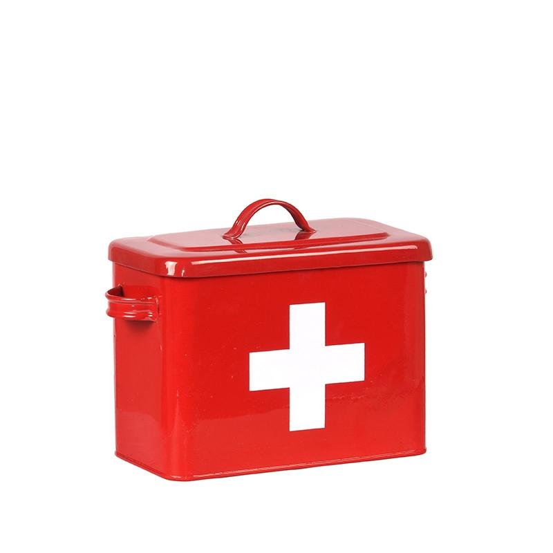 LABEL51 Opbergblik EHBO Opbergkist - Rood hoogglans - Metaal