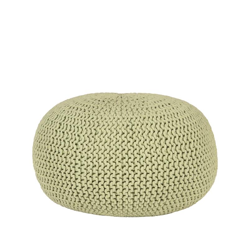 LABEL51 Poef Knitted - Groen - Katoen - L