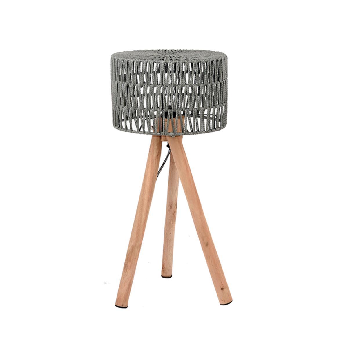 LABEL51 Tafellamp Stripe - Grijs - Mangohout