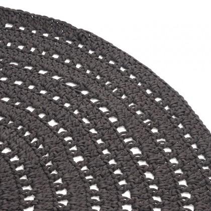 LABEL51 Vloerkleed Knitted - Antraciet - Katoen - 150x150 cm