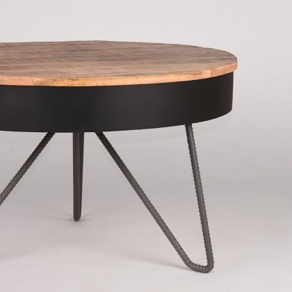 LABEL51 Salontafel Saria - Zwart - Mangohout - Rond - 80 cm