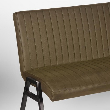 LABEL51 Eetkamerbank Matz - Army green - Microfiber - 145 cm