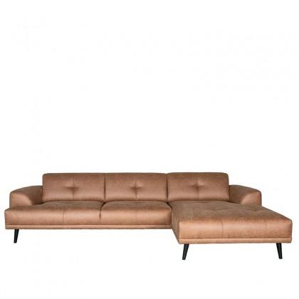 LABEL51 Hoekbank Salerno - Cognac - Microfiber - 2,5-Zits + Chaise Longue