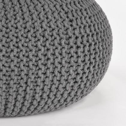 LABEL51 Poef Knitted - Donkergrijs - Katoen - L