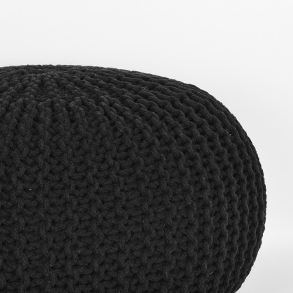 LABEL51 Poef Knitted - Zwart - Katoen - L