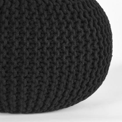 LABEL51 Poef Knitted - Zwart - Katoen - M