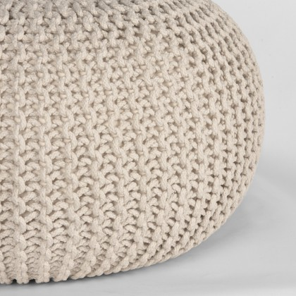 LABEL51 Poef Knitted - Naturel - Katoen - M