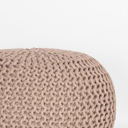 LABEL51 Poef Knitted - Beige - Katoen - M