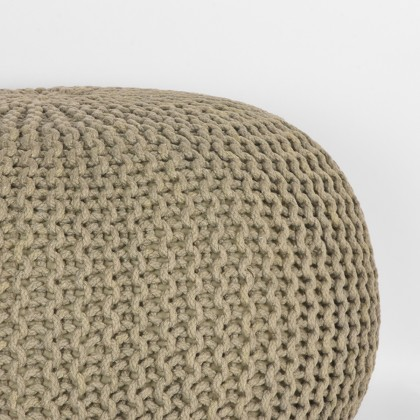 LABEL51 Poef Knitted - Olijfgroen - Katoen - L