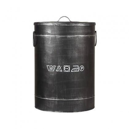 LABEL51 Opbergblik Wasmand - Zwart - Metaal - L
