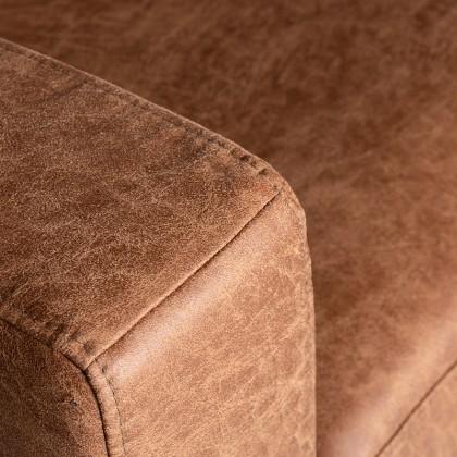 LABEL51 Hoekbank Genua - Cognac - Microfiber - 2,5-Zits + Ottomane