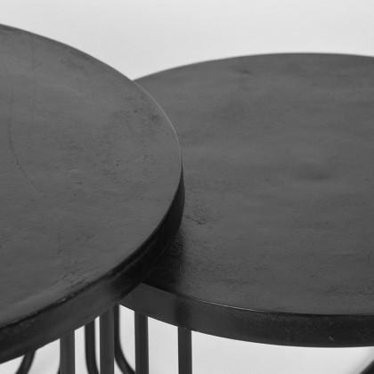 LABEL51 Salontafel Set Brute 70x70x43 cm - Zwart - Metaal