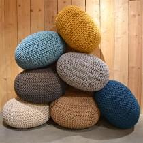 LABEL51 Poef Knitted - Beige - Katoen - L