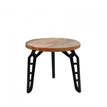 LABEL51 Bijzettafel Flintstone - Rough - Mangohout - Rond - 45 cm