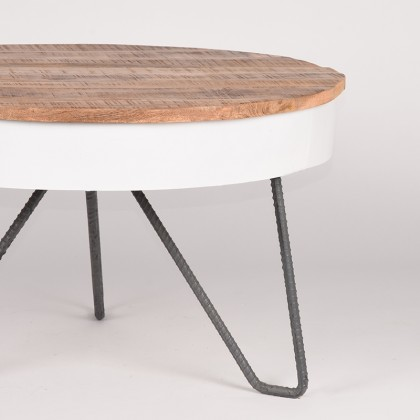 LABEL51 Salontafel Saria - Wit - Mangohout - Rond - 80 cm