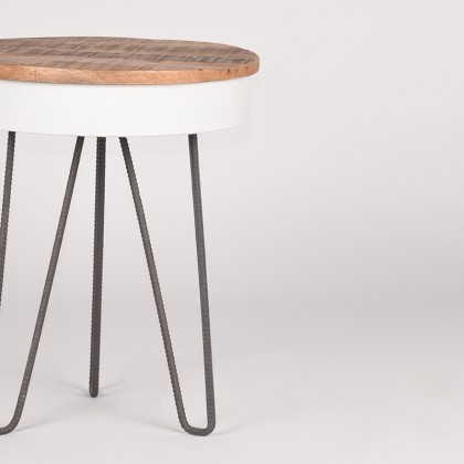 LABEL51 Bijzettafel Saria - Wit - Mangohout - Rond - 44 cm