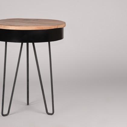 LABEL51 Bijzettafel Saria - Zwart - Mangohout - Rond - 44 cm