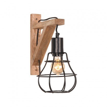 LABEL51 Wandlamp Drop - Zwart - Mangohout