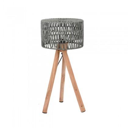 LABEL51 Tafellamp Stripe - Grijs - Katoen