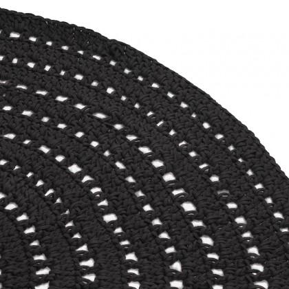 LABEL51 Vloerkleed Knitted - Zwart - Katoen - 150x150 cm