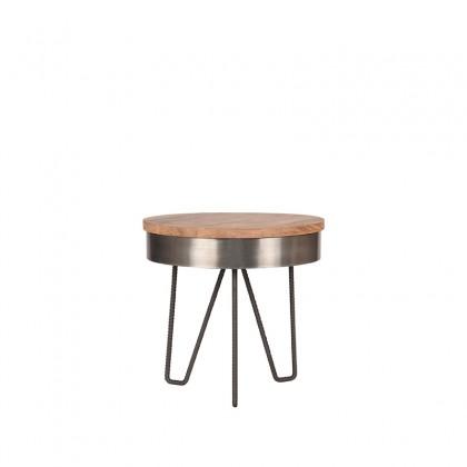 LABEL51 Bijzettafel Saran - Antiek grijs - Metaal - Rond - 44 cm