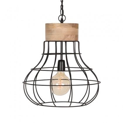 LABEL51 Hanglamp Drop - Zwart - Mangohout